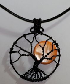 Harvest Moon Tree of Life Pendant by Mariesinspiredwire on Etsy