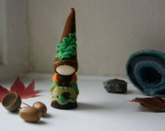 RESERVED FOR ANITA: Oak & Acorn Gnome / Hand stitched Wool Felt on wooden peg doll