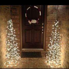 2 Tomato cages ($3.48 a piece), 6 strands of twinkle lights (&1.98 a piece) $19 porch decorations for Christmas! Add garland for an even prettier touch!