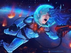 Critical Error  Broken helmet, eyes freezing over, trying to get in one last shot before she succumbs to the harshness of space -- or gets picked up by the spacecraft just out of the scene. Insert your own story here. :)  Illustration by Stephanie Shimerdla