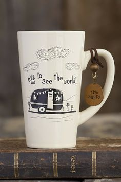 """Off To See The World"" Mug on FancyGiving - http://www.FancyGiving.com - Beautiful ceramic coffee mugs with a token that has a matching phrase. Great gift for coffee lovers!"