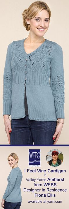 I feel Vine Cardigan designed by Fiona Ellis and knit in Valley Yarns Amherst.