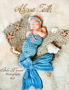 Mermaid Tail and Headband Newborn Photography Prop by crazyhatter