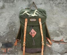 Handmade Canvas Leather Washed Out Treatment Rucksack/ Backpack - Army Green