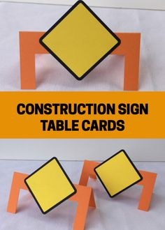 These Construction sign table cards are AWESOME! Love how we can personalize them with the kids' names or with the party food at our Construction birthday party. So cool. #etsy #construction #ad #birthday