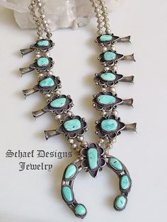 Turquoise squash blossom necklace ~ Vintage ~ Schaef Designs Jewelry online ~ New Mexico