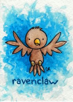 ACEO of the delightful Ravenclaw eagle! (yes, I chose to use the book's mascot for Ravenclaw!) watercolor