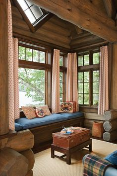 I want one of these. :) A window seat in Lothrop Cabin provides the perfect setting for reading a book or watching the sunrise.