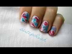 Dry Water Marble Nails.  Learn how to create an amazing marble manicure without having to use the traditional water in a cup method