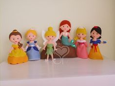 Felt Disney princess and pixie dolls ||| plush, fabric, Belle, Cinderella, Tinkerbell, Ariel, Aurora/Briar Rose, Snow White