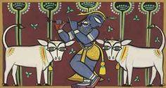 Jamini Roy - Untitled (Krishna with Cows) Worli Painting, Fabric Painting, Painting Corner, Paint Fabric, Ganesha Drawing, Lord Ganesha Paintings, Indian Traditional Paintings, Indian Paintings, Madhubani Art