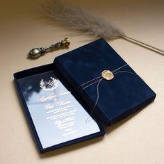 MontBlanc Acrylic Wedding Invitation in navy blue velvet box Acrylic Wedding Invitations, Indian Wedding Invitations, Box Invitations, Invitation Wording, Invitation Suite, Wedding Invitation Card Design, Wedding Card Design, Wedding Stationery, Wedding Boxes