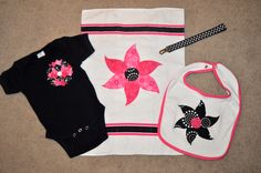 """B"" Baby Gift Set...Baby onsie, burpcloth, binky clip and bib"