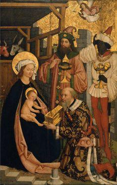 medievalpoc: Bartholome Zeitblom Adoration of the Magi Germany (c. 1490s-1505) Oil on Wood with Fabric Ground, 158.5 x 103.8 cm. Museum of Fine arts, Boston.