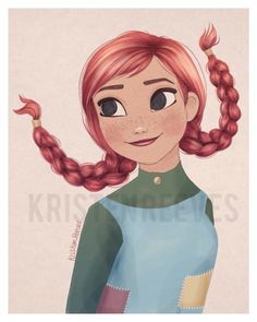 8x10 Pippi Anna Longstocking  Children's by ArtbyKristenReeves