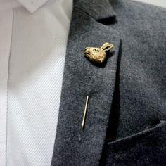 2016 Vintage Men Long Brooches Cartoon Rabbit Head Alloy Brooch for Men's Suit Animal Lapel Pin Brooch Boutonniere