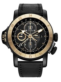 GLYCINE AIRMAN AIRFIGHTER Chronograph Ref. 3921.39.LB99B Gold Bezel - Limited Edition - 101 timepieces - Swiss made watches - SwissTime