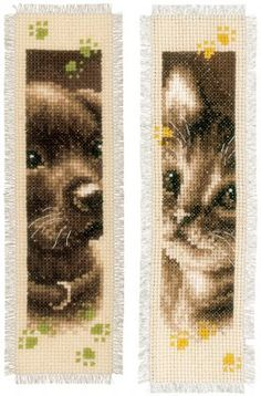 click here to view larger image of Cat and Dog Bookmarks (Set of 2) (counted cross stitch kit)