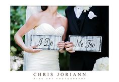 Quirky-cute signs for the bride and groom make for a playful photo-op at @Four Seasons Resort Palm Beach.