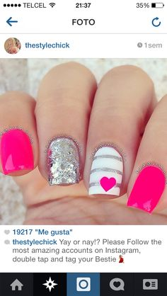 Having short nails is extremely practical. The problem is so many nail art and manicure designs that you'll find online Fancy Nails, Love Nails, Diy Nails, Fabulous Nails, Gorgeous Nails, Pretty Nails, Bright Summer Nails, Bright Pink Nails, Hot Pink Nails