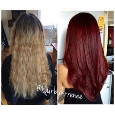 Before and after. blonde to dark red hair for fall. Such a transformation!