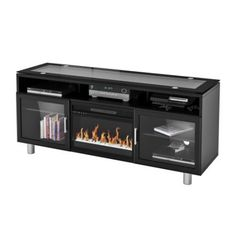 """Madie Flat Panel TV Stand With 26"""" Logset Fireplace Insert"""