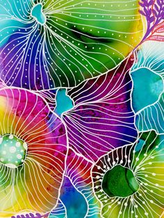 Colourful corals on yupo paper.