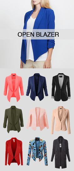 I really like the open blazer concept, in neutral colors, maybe with a print, but probably solid