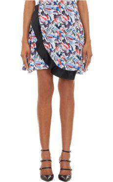 Brushstroke Ruffled Flare Skirt