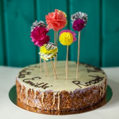Birthday cake paper pom-poms.