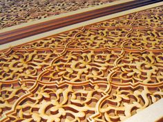 laser cut MDF wood screen << screen arabesque damask panel allover . Looks like an additional layer has been added.