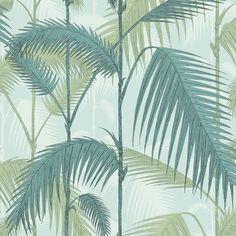 Papier peint vert exotique Palm Jungle - Cole and Son - Au fil des Couleurs Green Leaf Wallpaper, Mint Wallpaper, Wallpaper Roll, Wallpaper Jungle, Leaves Wallpaper, Tropical Wallpaper, Pattern Wallpaper, Wallpaper Backgrounds, Wallpaper Decor