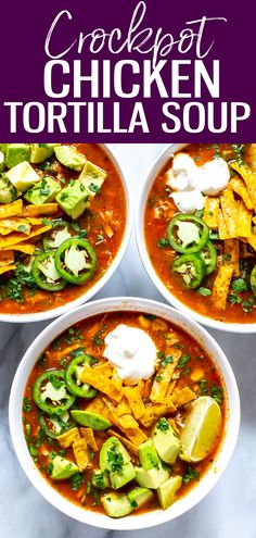 Crockpot Chicken Tortilla Soup - The Girl on Bloor This Crockpot Chicken Tortilla Soup is so flavourful - just dump in all the ingredients and push start, then top with avocado, tortilla strips, jalapeno and cilantro! Healthy Meals To Cook, Healthy Soup Recipes, Milk Recipes, Veggie Recipes, Whole Food Recipes, Dinner Recipes, Veggie Food, Healthy Dinners, Eating Healthy