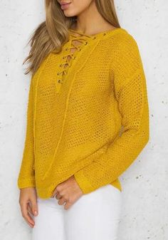 e1cf4ebd94 Yellow Patchwork Lace-up Irregular V-neck Long Sleeve Pullover Sweater   Pullovers