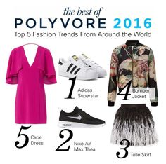 """Check out the Top Fashion Trends of 2016 in The Best of Polyvore Report"" by polyvore ❤ liked on Polyvore featuring adidas Originals, NIKE, Alice + Olivia, Miss Selfridge and Exclusive for Intermix"