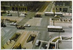 Astoria intersection, with the stairs to the subway station below, Hotel Astoria on the corner. 1972