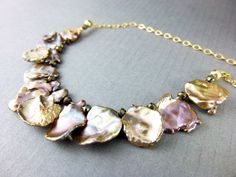 Lustrous Keishi Pearl Necklace, Copper Keishi Pearls & Rose Gold Filled Chakra Necklace