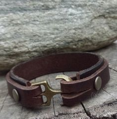 FREE SHIPPING-Leather Bracelet Brown Leather Cuff  Bracelet
