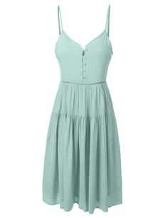 Womens Summer Casual Strappy Sun Dress with Adjustable Straps Strappy Summer Dresses, Green Summer Dresses, Green Midi Dress, Summer Sundresses, Dress Summer, Summer Cardigan, Skater Dress, Trendy Dresses, Casual Dresses