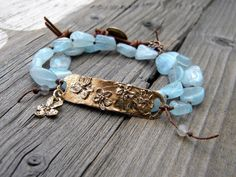 Double Wrap Boho Bracelet, Natural Stone Aqua Nuggets, Linen Knotted Jewelry, Artisan Bronze Floral Double Wrap Bracelet
