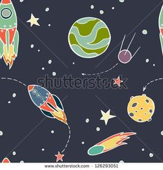 stock-vector-seamless-pattern-with-space-rockets-comet-planets-and-stars-childish-background-vector-126293051.jpg (450×470)