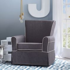 Delta Children Epic Upholstered Glider, Charcoal with Flax Welt (Charcoal & Flax), Grey (MDF)