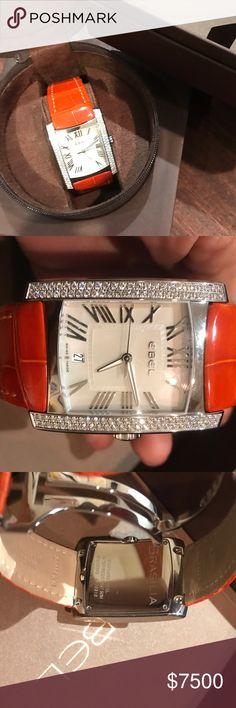 Ebel Diamond Watch Authentic Ebel Brasilia. Stainless steel rectangle case with a orange alligator leather strap. Diamond stainless steel bezel. White mother-of-pearl dial with silver-tone hands and Roman numeral markers. Luminescent hands and markers. Date display at the 6 o'clock position. Scratch resistant sapphire crystal. Deployment with push button clasp. Water resistant at 50 meters / 165 feet.  Total diamond weight: 1.66 ct. Swiss made luxury watch. Pristine! Serious inquiries only…