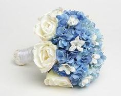White Rose, Blue Hydrangea and Stephanotis Bridesmaid Flowers, Bride Bouquets, Bridal Flowers, Rose Bouquet, Summer Wedding, Our Wedding, Dream Wedding, Wedding Things, Wedding Inspiration
