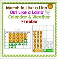 "FREE SCIENCE LESSON - ""March In Like a Lion Out Like a Lamb Calendar & Weather Activity"" - Go to The Best of Teacher Entrepreneurs for this and hundreds of free lessons.  Pre-Kindergarten - 1st Grade    http://thebestofteacherentrepreneursiv.blogspot.com.co/2017/02/free-science-lesson-march-in-like-lion.html"