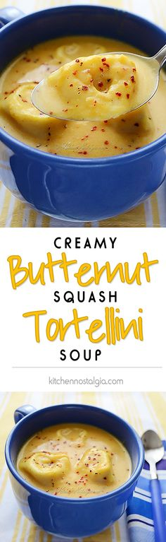 Creamy Butternut Squash Tortellini Soup - the ultimate comfort food for foggy days! Crockpot Recipes, Soup Recipes, Vegetarian Recipes, Cooking Recipes, Healthy Recipes, Soup Kitchen, Tortellini Soup, Pasta, Kitchens
