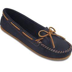 4ed7b06f600 Minnetonka Boat Moc Slippers - Womens Navy Womens Leather Moccasins