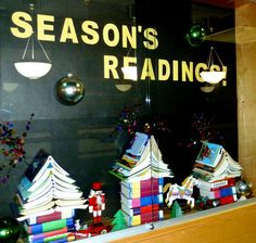 Christmas Window Display Ideas for Fashion Retailers and Visual Merchandisers. Get ready and inspired for the holidays with all of these holiday and Christmas window displays! Library Bulletin Boards, Bulletin Board Display, Christmas Window Display, Christmas Books, Christmas Trees, Christmas Decorations, Store Window Displays, Display Windows, Retail Displays