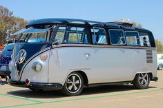 she's a BEAUT! Grey and Black VW BUS ♠ re-pinned by http://www.wfpblogs.com/category/toms-blog/