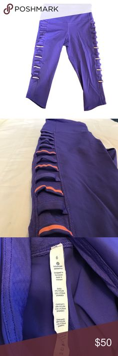 Lululemon Purple Breezy Crops - Size 6 Authentically Lulu, these purple crops are perfect for making a statement at the gym. Orange accents down the side with ladder notches add extra detail to these one of kind crops. Higher rise, size 6. Zipper on the back left along with an unzipped pouch in the front is perfect for storing an ID or key! Only worn a handful of times - from a smoke free, pet free home. lululemon athletica Pants Leggings